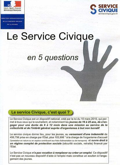 Premiere page de la plaquette de presentation du Service Civique