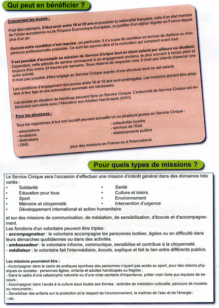 Deuxieme page de la plaquette de presentation du Service Civique