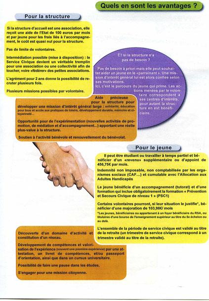 Troisieme page de la plaquette de presentation du Service Civique