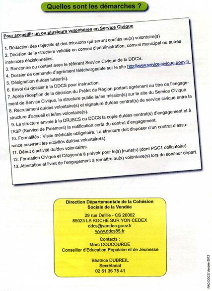Quatrieme page de la plaquette de presentation du Service Civique